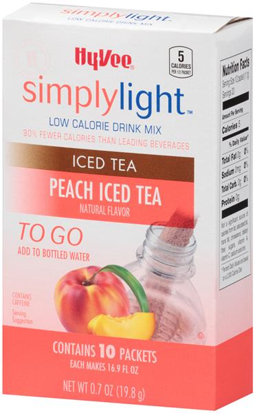 Hy-Vee SimplyLight Low Calorie Peach Iced Tea Drink Mix To Go 10 Ct