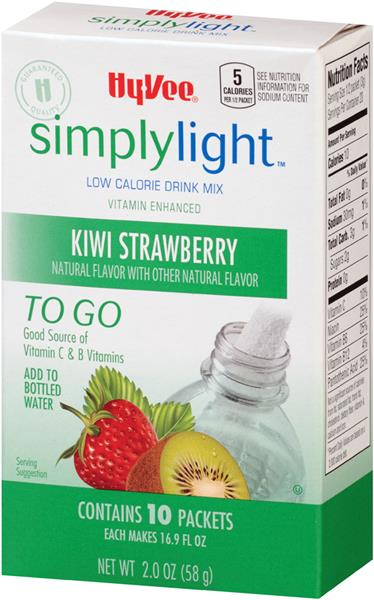 Hy-Vee Simply Light Kiwi Strawberry Fitness to Go Drink Mix 10Ct