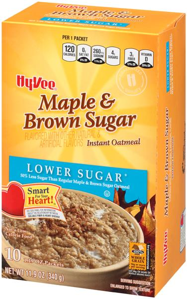 Hy-Vee Lower Sugar Maple & Brown Sugar Instant Oatmeal 10-1.19 oz Packets
