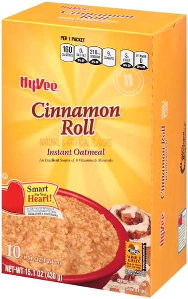 Hy-Vee Cinnamon Roll Instant Oatmeal 10 -1.51 oz Packets