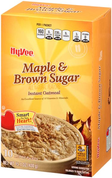 Hy-Vee Maple & Brown Sugar Instant Oatmeal 10-1.51 oz Packets