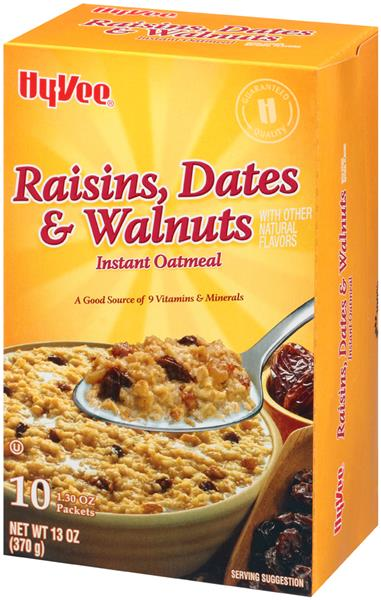 Hy-Vee Raisins, Dates, & Walnuts Instant Oatmeal 10-1.30 oz Packets