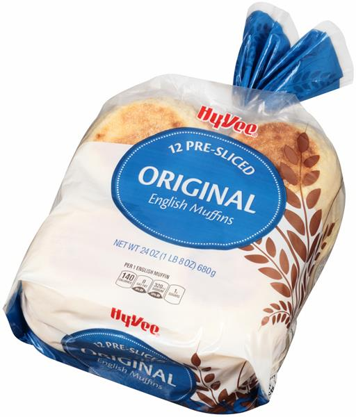 Hy-Vee Pre-Sliced Original English Muffins 12Ct