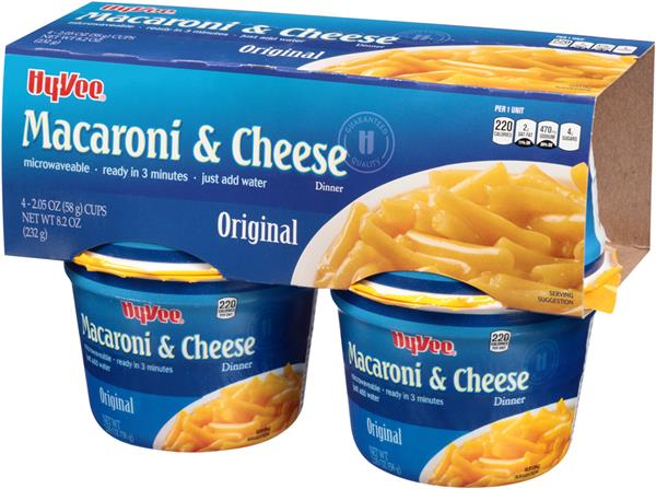 Hy-Vee Original Macaroni & Cheese Dinner 4-2.05 oz Cups