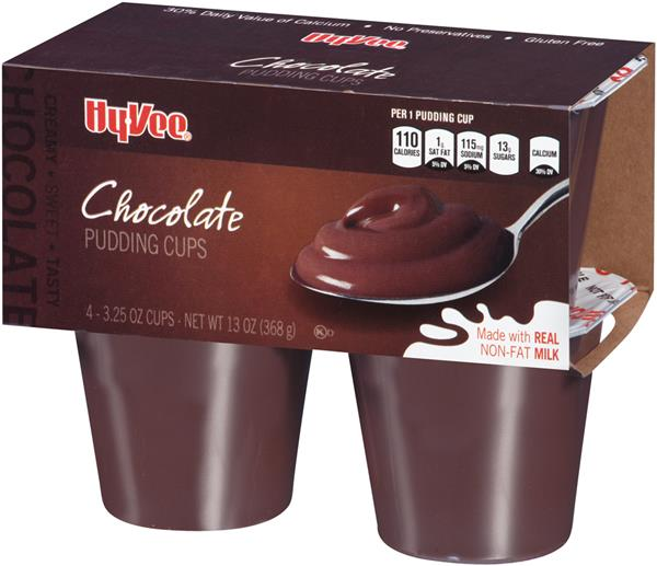 Hy-Vee Chocolate Pudding 4-3.25 oz Cups