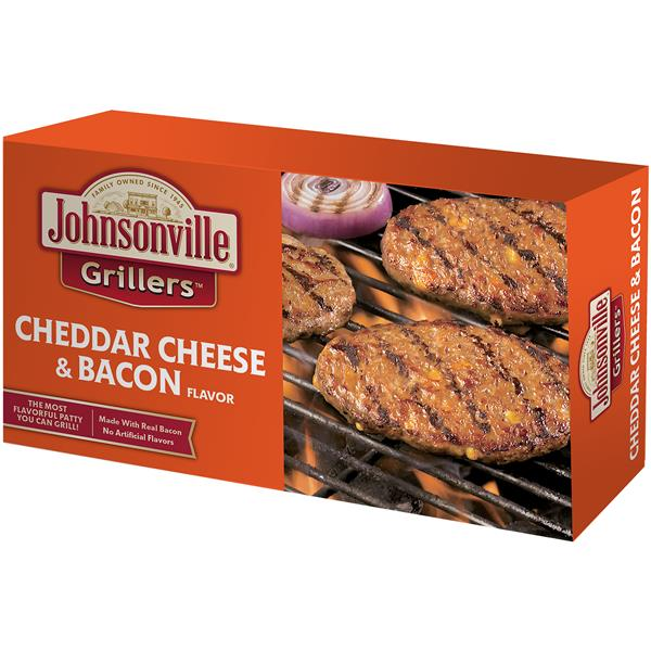 Johnsonville Grillers Cheddar Bacon Brat Patties 6 Count