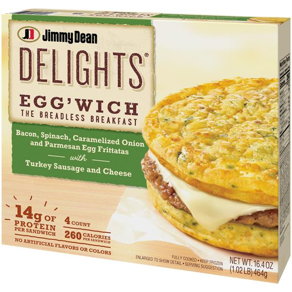Jimmy Dean Delights Eggwich Bacon Spinach Turkey 4Ct