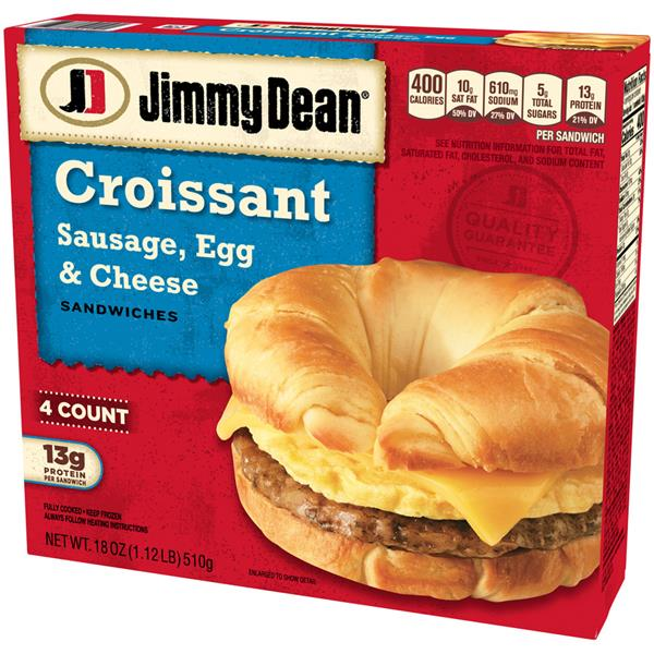 Jimmy Dean Croissant Sandwiches Sausage, Egg, & Cheese 4Ct