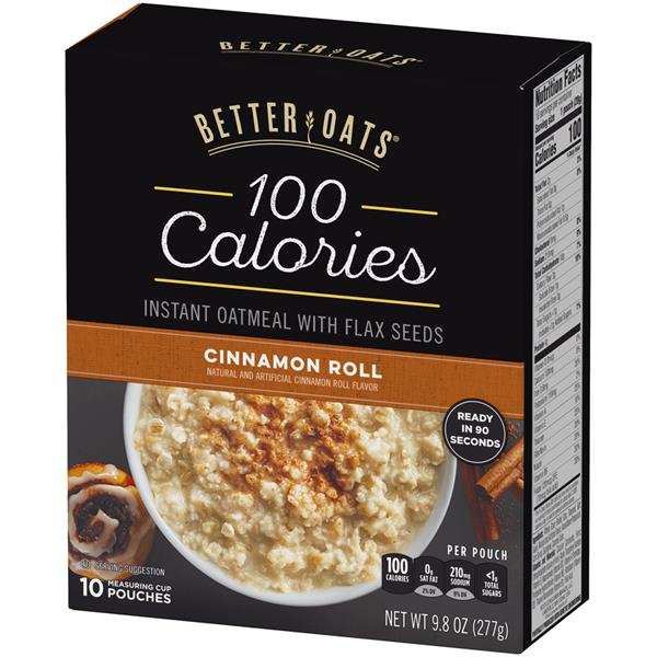 BetterOats 100 Calories Cinnamon Roll Instant Oatmeal 10 Ct