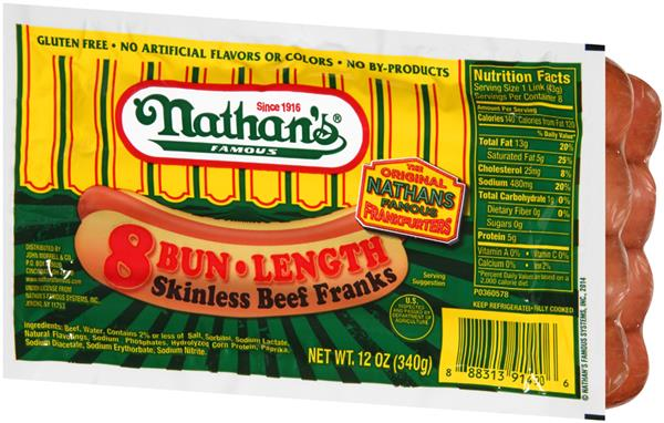 Nathans Bun Length Hot Dogs