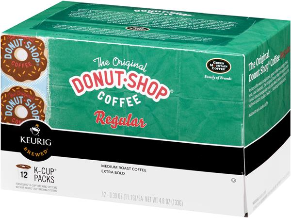Green Mountain Coffee The Original Donut Shop Coffee Regular Medium Roast Extra Bold K-Cups 12-0.39 oz ea.