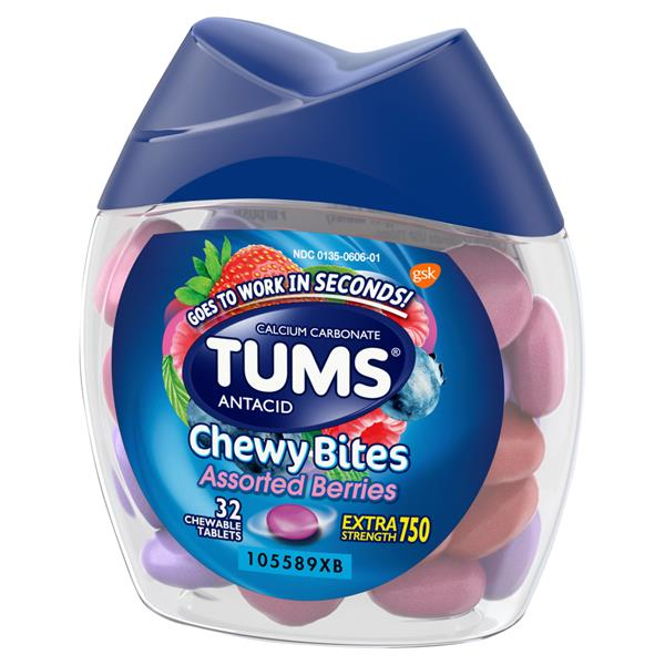 Tums Chewy Bites Assorted Berries Extra Strength 750 Chewable Tablets