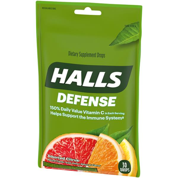 Halls Defense Assorted Citrus Vitamin C Supplement Drops
