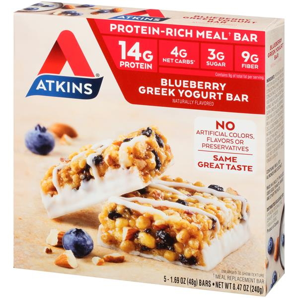 Atkins Blueberry Greek Yogurt Meal Bars 5-1.69 oz Bars