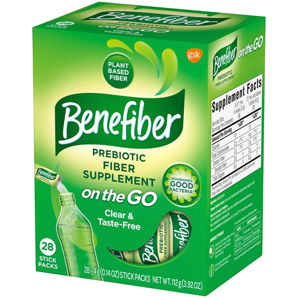 28//box,exp 2019-4pks Stick Natural Fiber Sugar//Grit free Benefiber ON THE GO