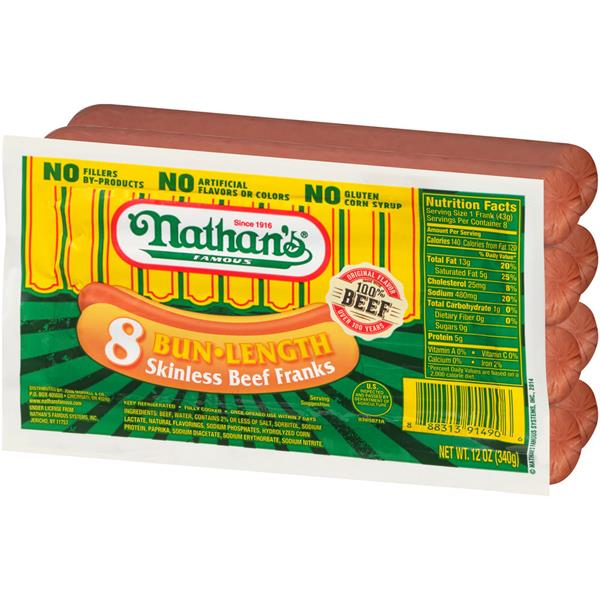 Nathan's Famous Bun-Length Skinless Beef Franks